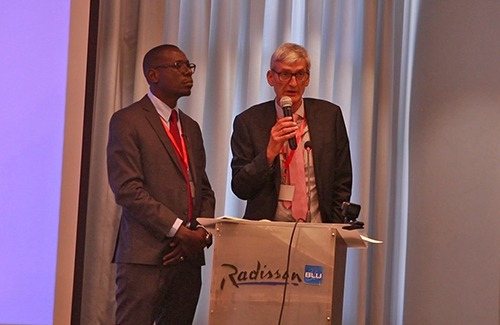 Nick Langford, Kenya Country Head Rendeavour and Chris Ochieng Senior Development Manager At Tatu City make their presentation at Kenya Vision 2030 conference held at Radisson Blu Upper Hill.
